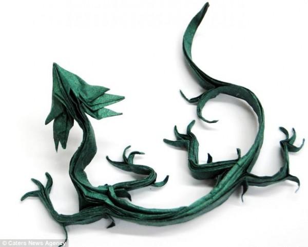 green origami dragon