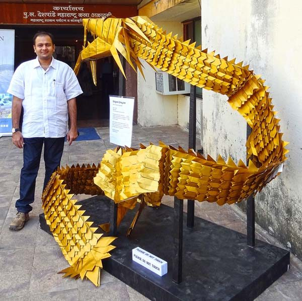 Gigantic Eastern origami Dragon